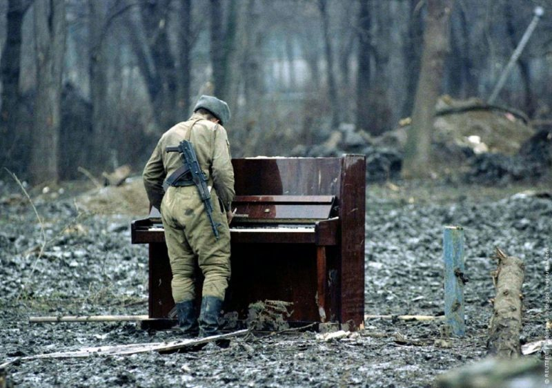 Russian Soldier Plays and Abandoned Piano