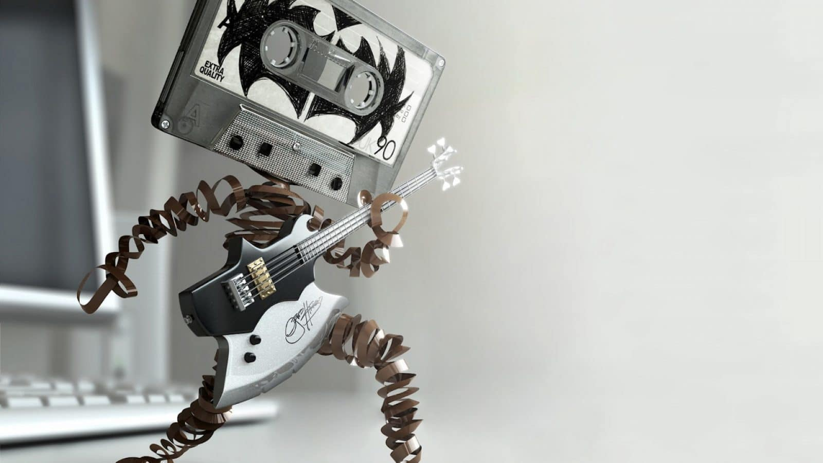 Funny Cassette Tape Playing Bass Guitar Wallpaper