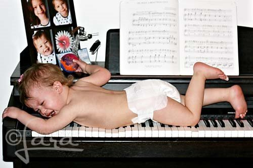 baby tantrum on piano