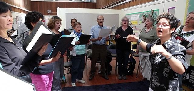 elderly group singing