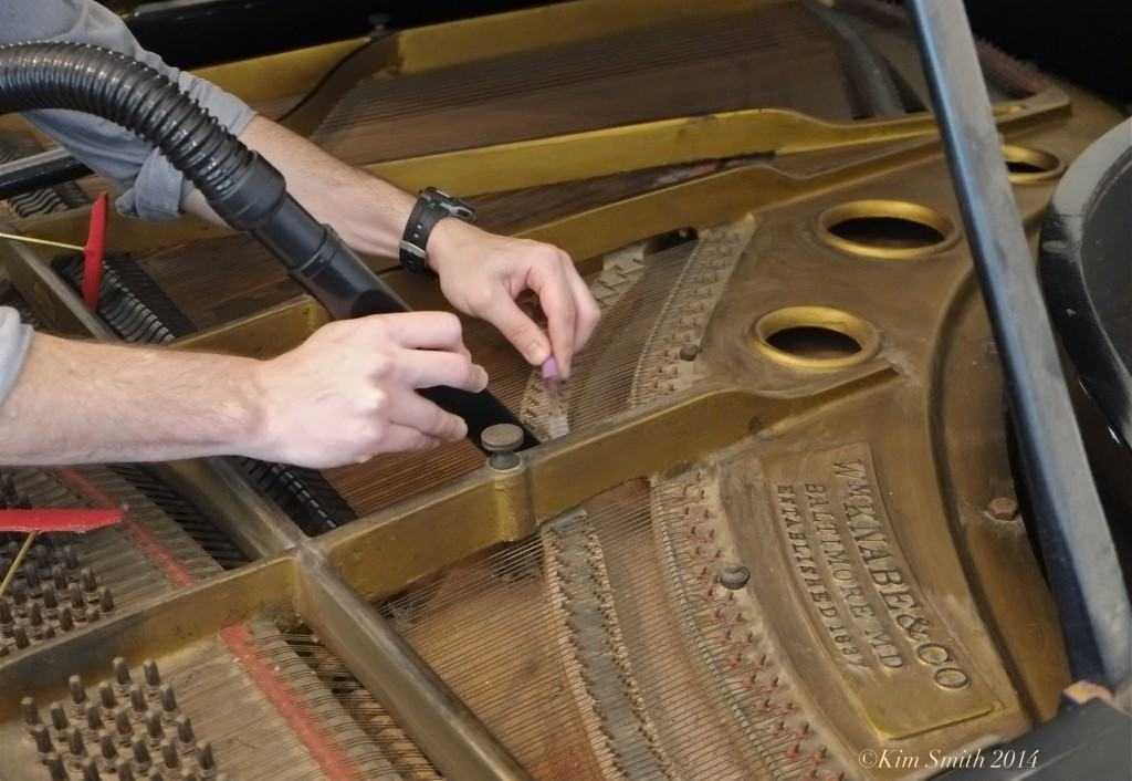 cleaning inside piano