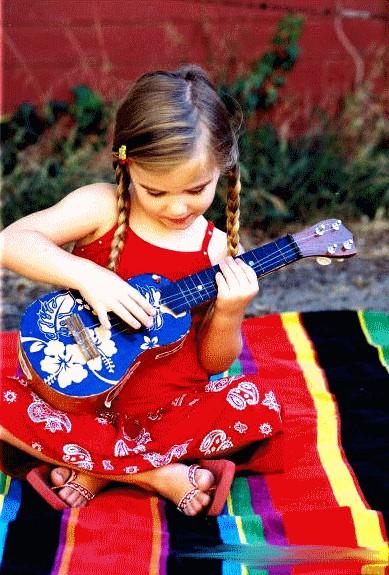 girl small guitar