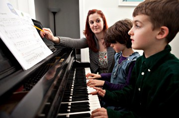 piano teacher and students