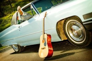 classic car and guitar