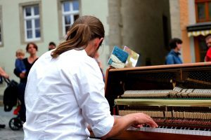 a piano performance in the open square