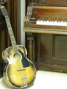 vintage guitar and piano