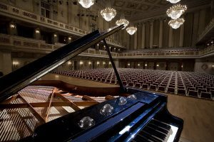 Grand piano at the main hall stage in the Konzerthaus Berlin, Germany