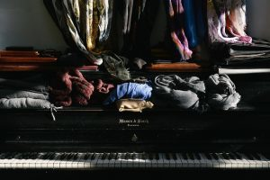 piano and clothes
