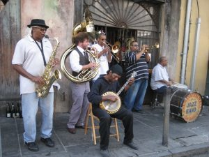 band performing on the streets