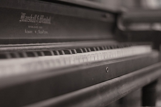 angle view of a piano