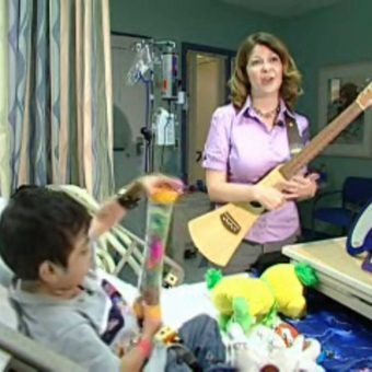 music being used to soothe a child in hospital