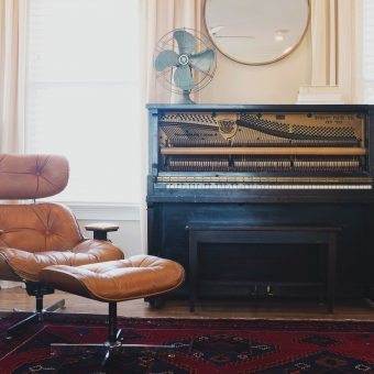 upright piano in the living room