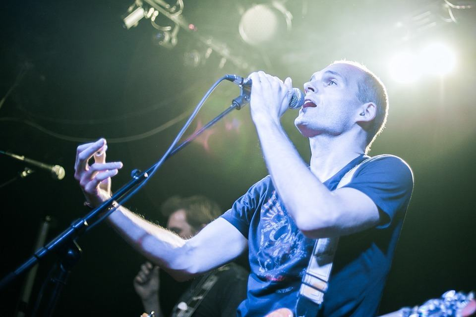 man singing at a concert
