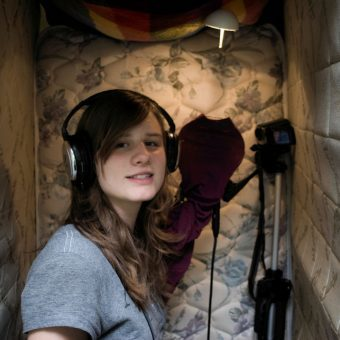 woman recording at a studio