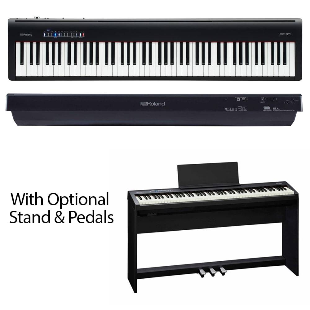 roland fp 30 digital piano with optional stand pedals. Black Bedroom Furniture Sets. Home Design Ideas