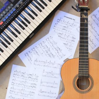 guitar, piano and music sheets