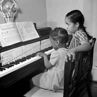 piano lesson going on