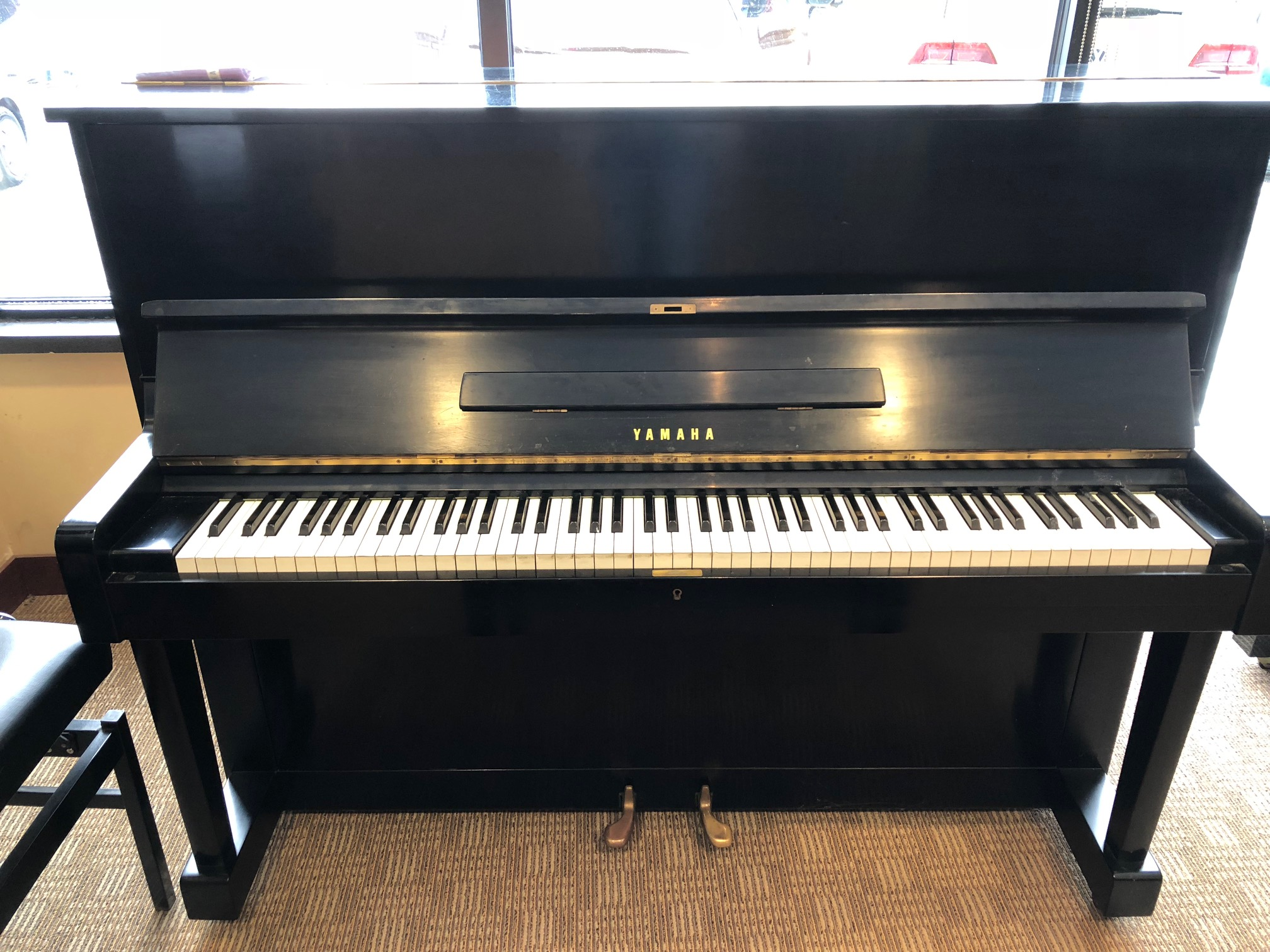 Used yamaha u1 upright piano black satin merriam music for Yamaha music school locations